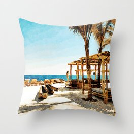 Watercolor Painting of Mykonos Beach Throw Pillow