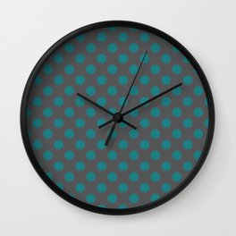 Large Polka Dots in Teal on Charcoal Gray Wall Clock