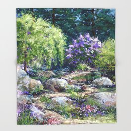 Path to Lilacs Throw Blanket