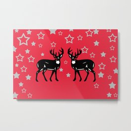 Two Deers silver Stars - red - background - Christmas design Metal Print