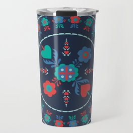 Folk Flowers with Red Border Travel Mug