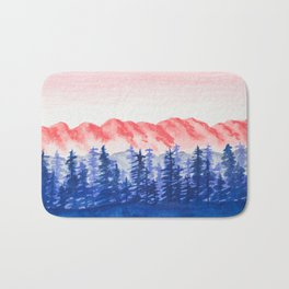 Navy and Coral Mountains Bath Mat