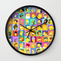 simpsons Wall Clocks featuring Simpsons by thev clothing
