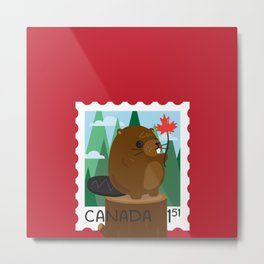 Beaver Stamp Metal Print