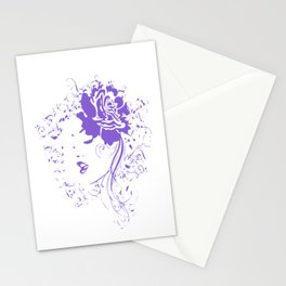Purple Vintage Flower Lady Stationery Cards