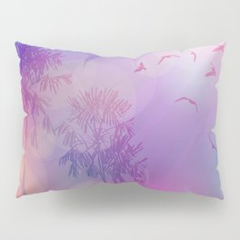 Silhouette of palm trees and birds, sky pink background, sunset, dawn. Pillow Sham