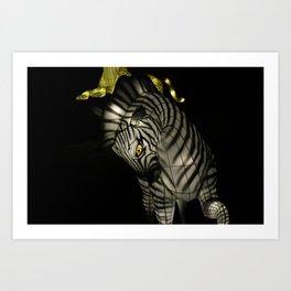 Closeup of Zebra Christmas Decoration in Palm Desert Art Print