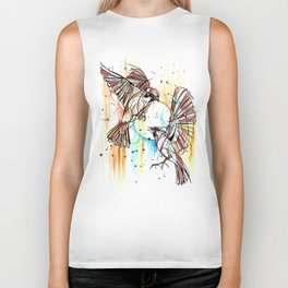 Geometric Sparrows Biker Tank