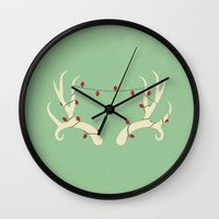antler Wall Clocks featuring Antler Lights by Slugbunny