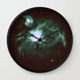 Dark Forest Green Teal Orion Nebula Wall Clock