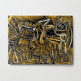 Primal Street Art Graffiti Yellow Night in the Jungle by Emmanuel Signorino  Metal Print