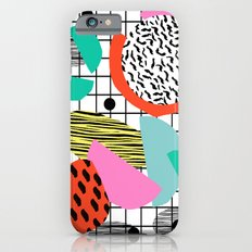 Posse - 1980's style throwback retro neon grid pattern shapes 80's memphis design neon pop art Slim Case iPhone 6