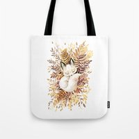 leaves Tote Bags featuring Slumber by Freeminds
