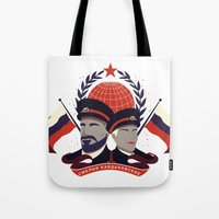 pacific rim Tote Bags featuring Pacific Rim: Brave Kaidanovskys by MNM Studios