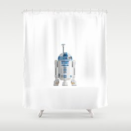 Fictional Robot/Droid Character Minimal Sticker Shower Curtain