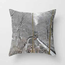 CABS CROSSING THRU CENTRAL PARK ON A SNOWY DAY Throw Pillow