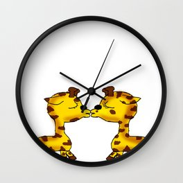 2 Cute Giraffes Kissing  Wall Clock