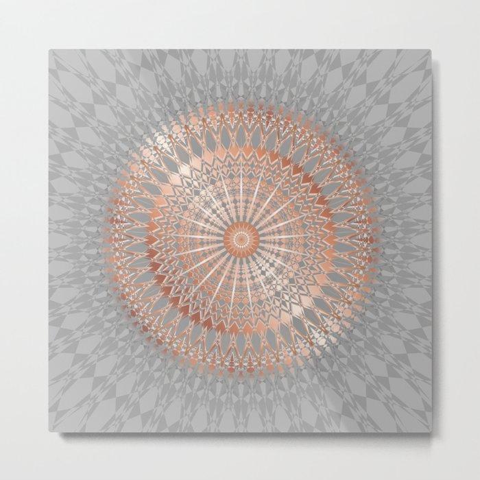 Rose Gold Gray Mandala Metal Print