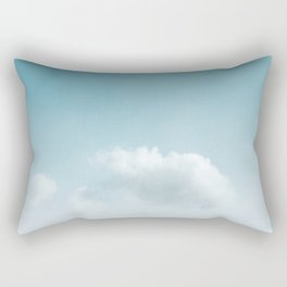 White Clouds   Turquoise Sky   Summer Photography Rectangular Pillow