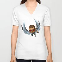 falcon V-neck T-shirts featuring Falcon by Meekobits