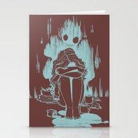 inner demons Stationery Cards featuring Demons by Jenn St Onge Illustration