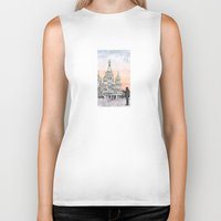 moscow Biker Tanks featuring Moscow Sunset by Claire Moose