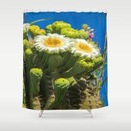 Saguaro Flower Power Shower Curtain