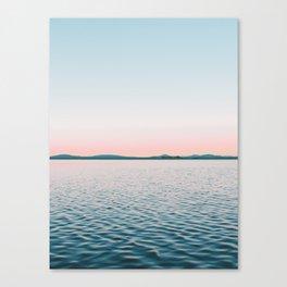 Pink, Blue, Landscape, Water, Nature, Modern art, Scandinavian, Art, Minimal, Wall art Canvas Print