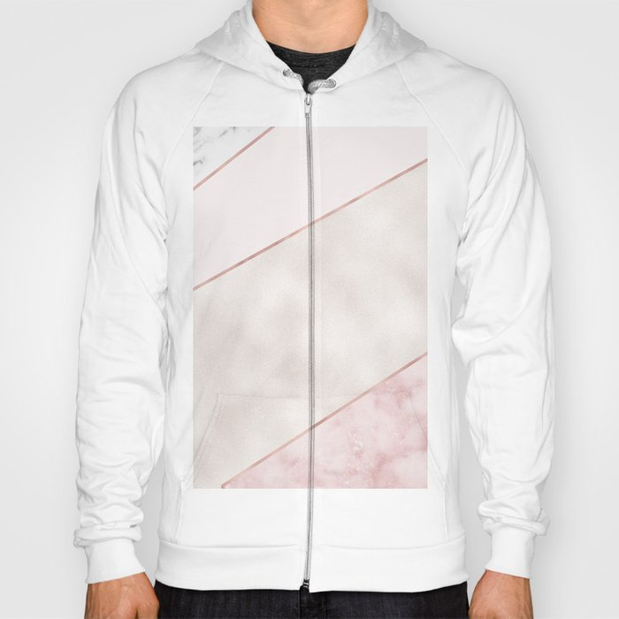 Spliced mixed pink marble and rose gold Hoody
