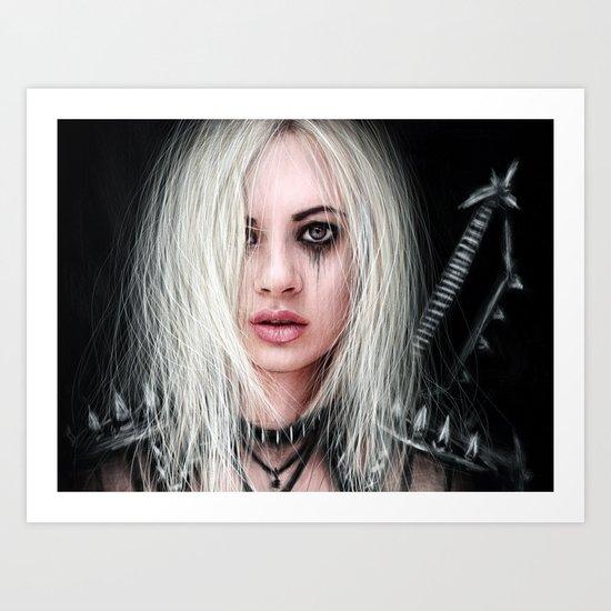 Sword In the Dark: A Gothic Warrior Art Print