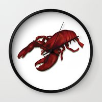 lobster Wall Clocks featuring Lobster by Keith Cowan