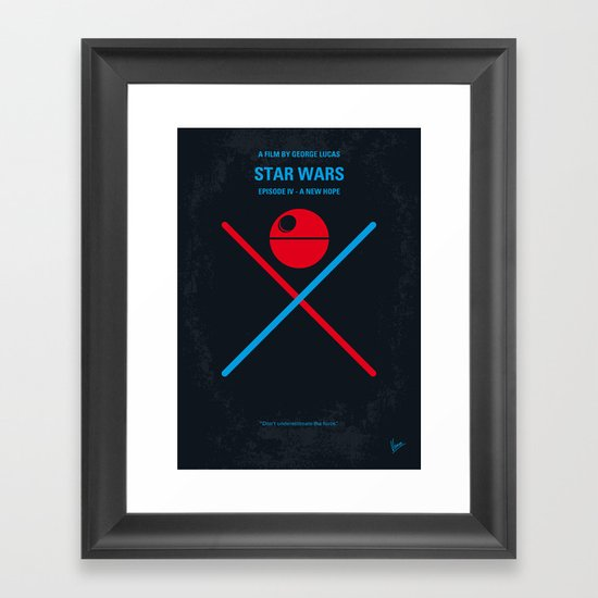 No154 My STAR Episode IV A New Hope WARS minimal movie poster Framed Art Print