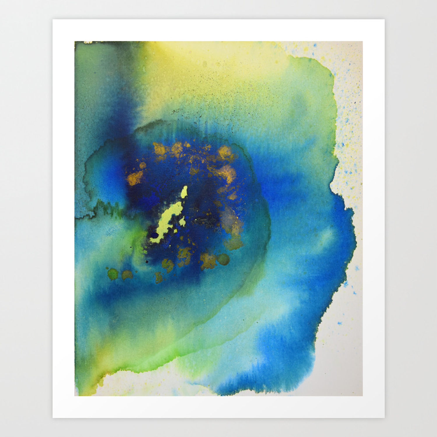 Green blue and gold abstract art print