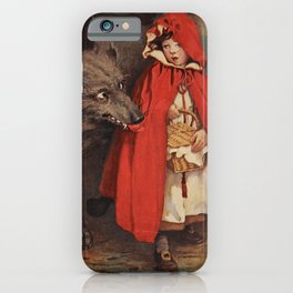 Little Red Riding Hood and the Big Bad Wolf portrait painting by Jesse Wilcox Smith iPhone Case