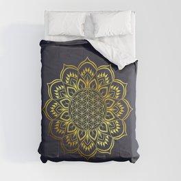 Flower of life Gold Mandala Comforters