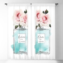Perfume, watercolor, perfume bottle, with flowers, Teal, Silver, peonies, Fashion illustration, Blackout Curtain