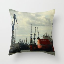 Ship In Dry Dock Throw Pillow