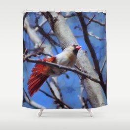 Female Cardinal Flirting Shower Curtain