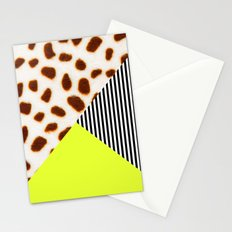 Cheetah Leo stripe and neon Stationery Cards