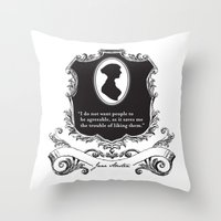 jane austen Throw Pillows featuring Jane Austen Snarky Quote by LindsayBurckDesigns
