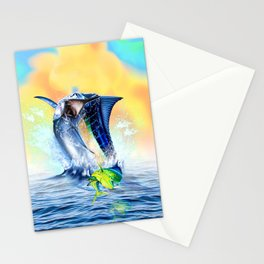 Jumping blue Marlin Chasing Bull Dolphins Stationery Cards