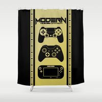 gamer Shower Curtains featuring Modern Gamer by AngoldArts