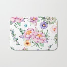 Pastel pink lavender green watercolor hand painted floral Bath Mat