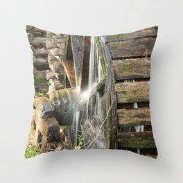 Wooden Grist Mills Water Wheel Throw Pillow