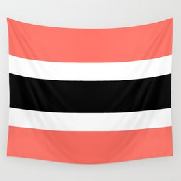 Horizontal stripes 3 Coral and black Wall Tapestry