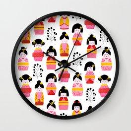 Kokeshi dolls cute pattern Wall Clock