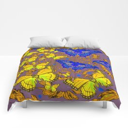 Decorative Blue & Yellow Butterfly Patterns Comforters