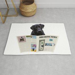 Black Labrador Dog - Breaking News Newspaper  Rug