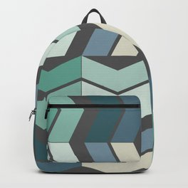 Vintage Geometric Pattern Chevron Blue Green Black Backpack