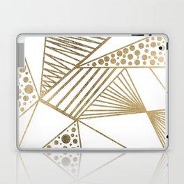 Elegant faux gold geometric stripes polka dots pattern Laptop & iPad Skin